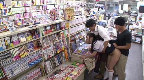 本屋で媚薬を塗られて即ハメされ犯されてしまう女子校生たち