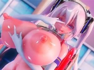 【3Dエロアニメ】初音ミクが長乳首爆乳揺らしながらランドセル背負ってエロダンス【MMD】