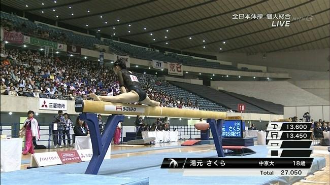 湯元さくら~全日本体操でのレオタード姿で開脚した股間からハミ出しそうで興奮!0015shikogin