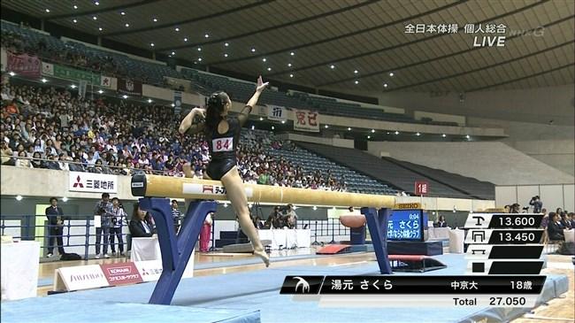 湯元さくら~全日本体操でのレオタード姿で開脚した股間からハミ出しそうで興奮!0016shikogin