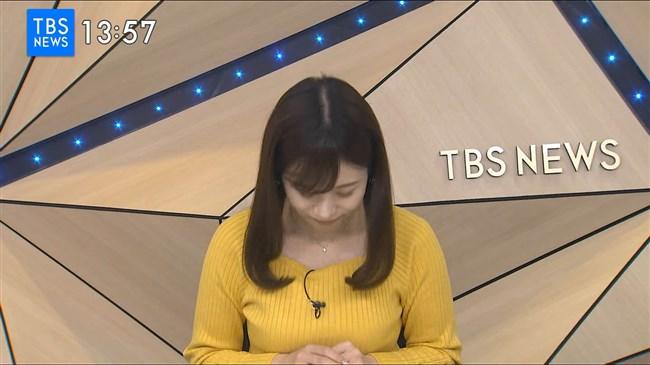 河野千秋~TBS-NEWSでの黄色ニット服のデカい膨らみと衝撃の白ブラチラ!0008shikogin