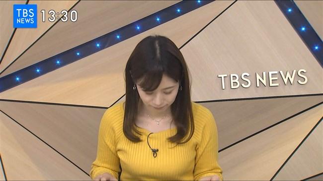 河野千秋~TBS-NEWSでの黄色ニット服のデカい膨らみと衝撃の白ブラチラ!0004shikogin