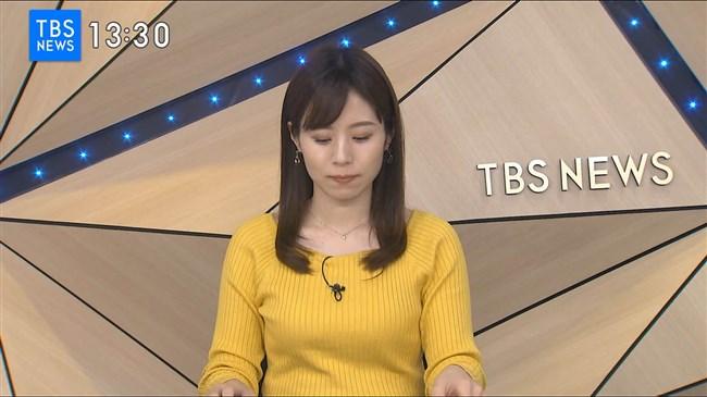 河野千秋~TBS-NEWSでの黄色ニット服のデカい膨らみと衝撃の白ブラチラ!0005shikogin