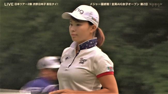 渋野日向子~テレビ出演時のTシャツを突き破るようなパンパンの胸元が凄い!0007shikogin