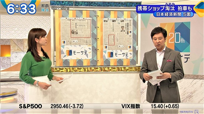 角谷暁子~ニュースモーニングサテライトでの横チチ凄!こんなにデカかった!0010shikogin