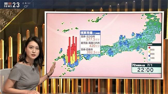 小川彩佳~NEWS23で意外と薄い生地のワンピでプックリオッパイを見せまくり!0002shikogin