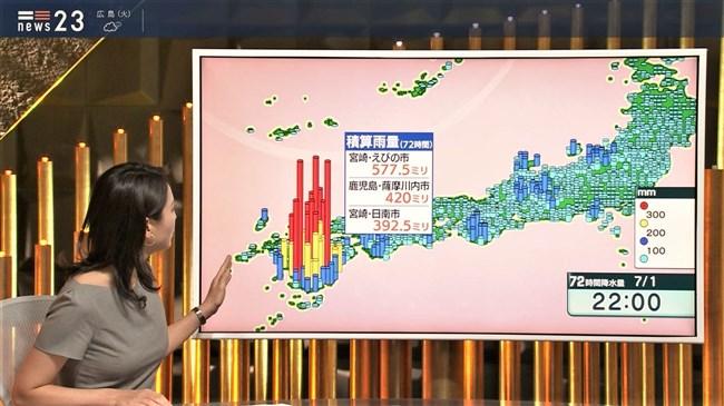 小川彩佳~NEWS23で意外と薄い生地のワンピでプックリオッパイを見せまくり!0005shikogin