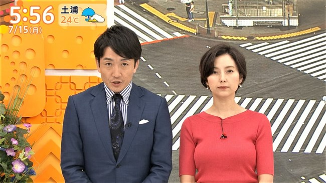 加藤シルビア~TBSの美熟女アナがノースリーブニット服で胸元を全開放!0006shikogin