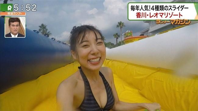 佐藤夢~報道ランナーでのプールロケが極エロ!スライダーでマンスジが!0012shikogin
