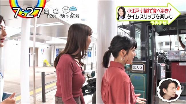團遥香~ZIP!での小江戸を食べ歩いた姿がニット服で胸元パンパンなのが卑猥!0007shikogin