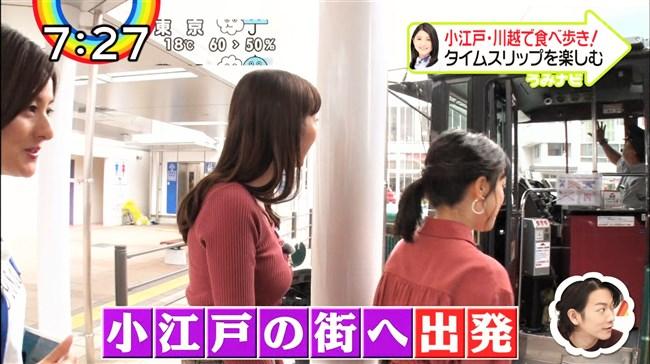 團遥香~ZIP!での小江戸を食べ歩いた姿がニット服で胸元パンパンなのが卑猥!0008shikogin