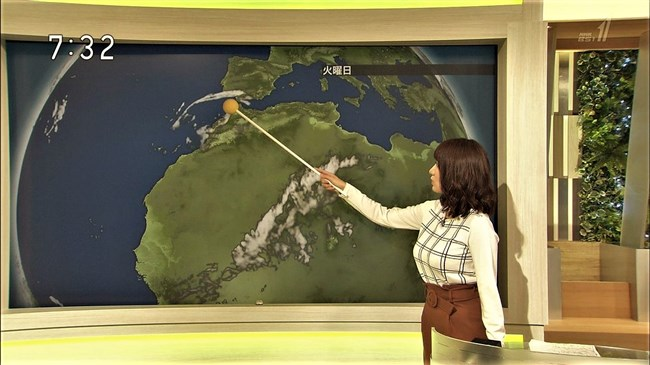 吉井明子~NHK-BSお天気コーナーでの天気図が隠れるほどの爆乳横チチが凄過ぎる!0003shikogin
