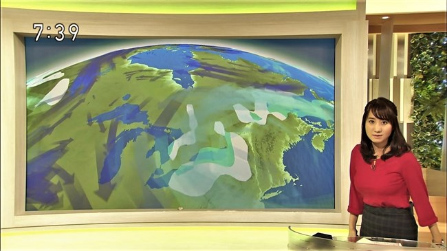 吉井明子~NHK-BSお天気コーナーでの天気図が隠れるほどの爆乳横チチが凄過ぎる!0007shikogin