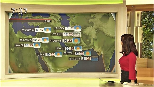 吉井明子~NHK-BSお天気コーナーでの天気図が隠れるほどの爆乳横チチが凄過ぎる!0008shikogin