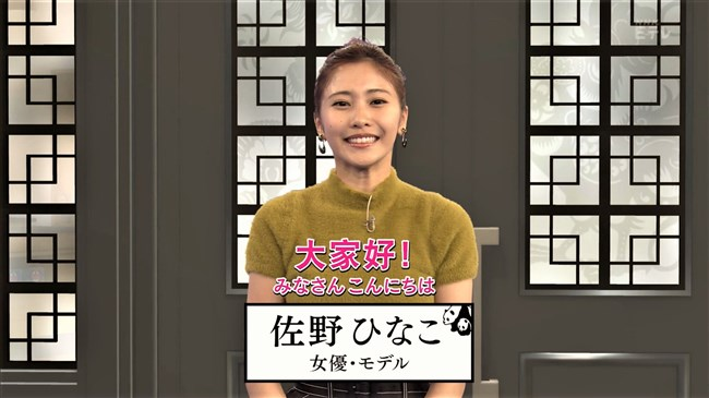 佐野ひなこ~NHKテレビで中国語の新MC!いきなりニット服で巨乳ぶりをアピール!0002shikogin