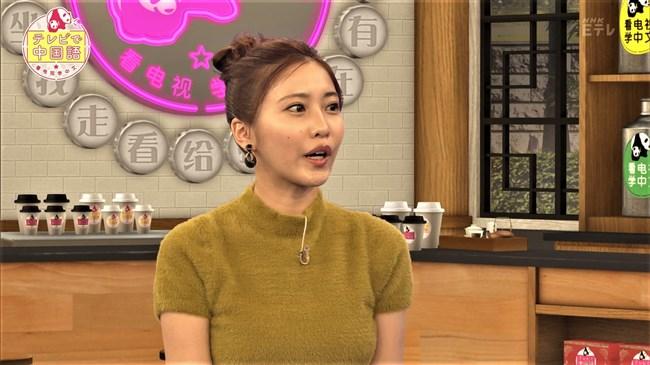 佐野ひなこ~NHKテレビで中国語の新MC!いきなりニット服で巨乳ぶりをアピール!0006shikogin