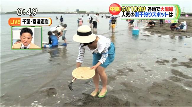 川添永津子~ひるおび!の潮干狩りレポートで大胆な前屈み胸チラをテレビ中継!0004shikogin