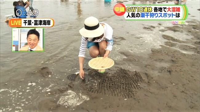 川添永津子~ひるおび!の潮干狩りレポートで大胆な前屈み胸チラをテレビ中継!0006shikogin