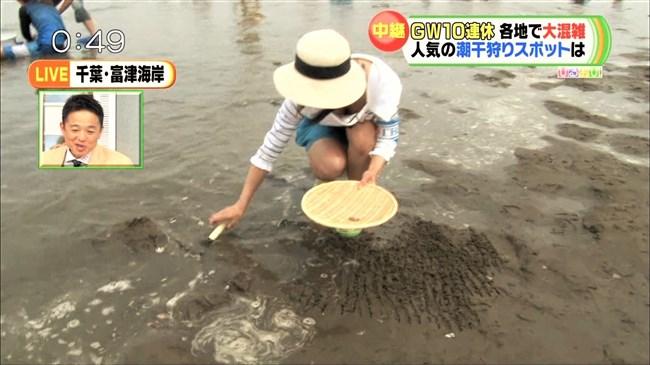 川添永津子~ひるおび!の潮干狩りレポートで大胆な前屈み胸チラをテレビ中継!0007shikogin