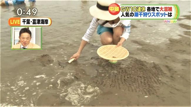 川添永津子~ひるおび!の潮干狩りレポートで大胆な前屈み胸チラをテレビ中継!0008shikogin