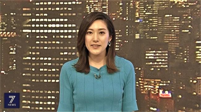 上原光紀~NHKニュース7にてニット服で窮屈そうに抑えつけられているオッパイ!0012shikogin