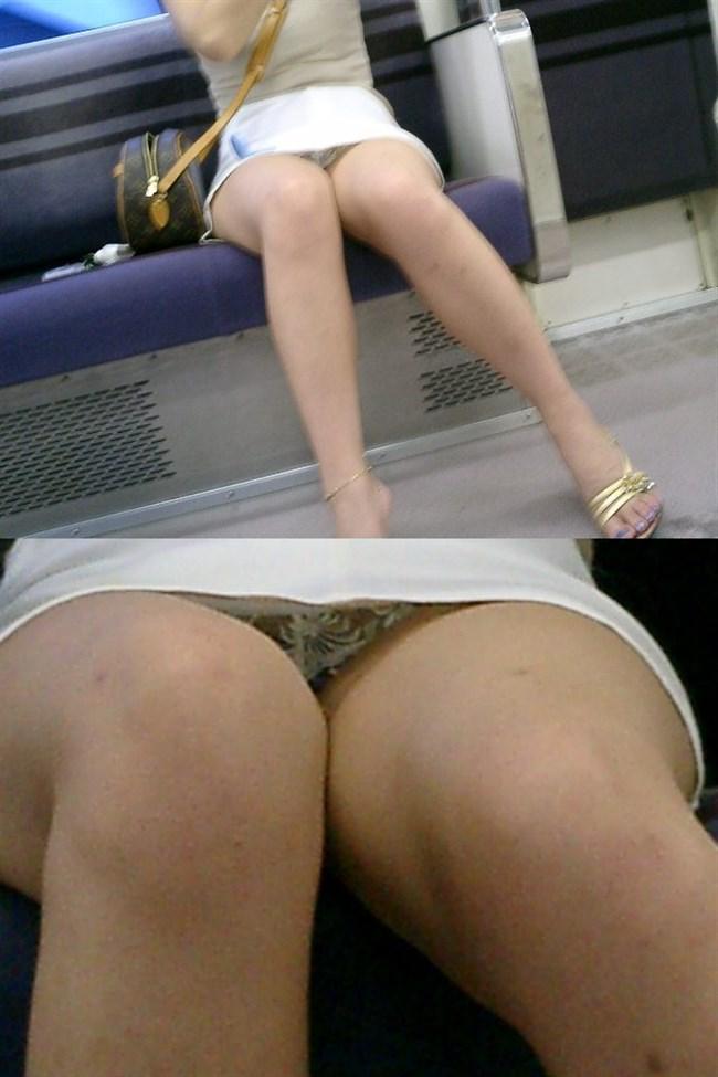 電車の対面座席に座るミニスカ女子が素でパンチラサービスしてしまう幸運wwwww0006shikogin