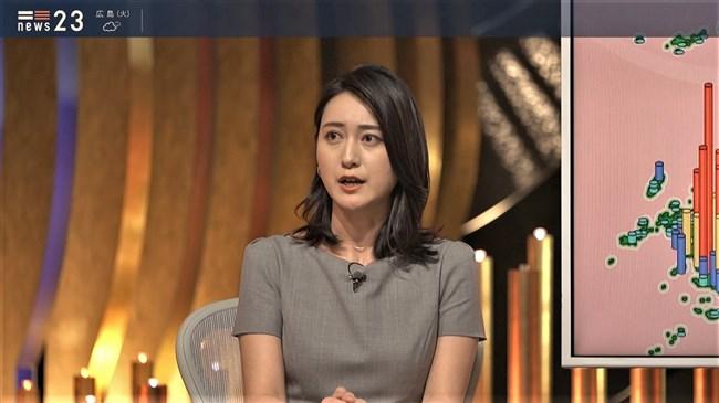 小川彩佳~NEWS23で意外と薄い生地のワンピでプックリオッパイを見せまくり!0008shikogin