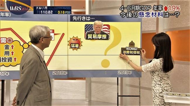 大江麻理子~ワールドビジネスサテライトでのレース地で透けた感じのオッパイの膨らみ!0009shikogin