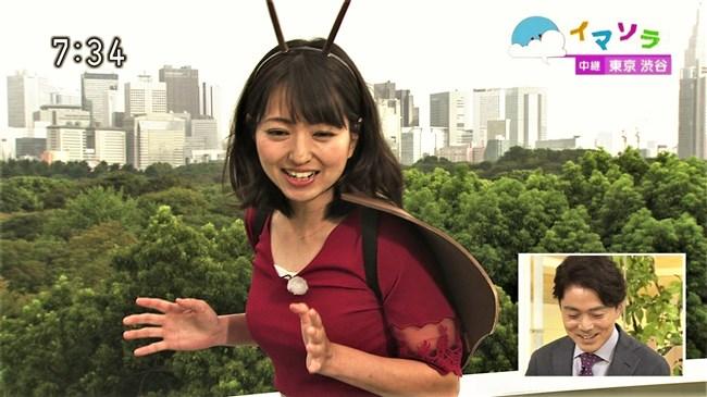 福岡良子~NHKおはよう日本でピッタリタイツで胸の膨らみを見せたコオロギ姿が最高!0005shikogin