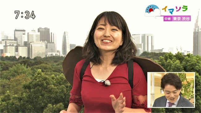 福岡良子~NHKおはよう日本でピッタリタイツで胸の膨らみを見せたコオロギ姿が最高!0008shikogin
