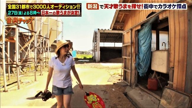 三谷紬~音楽チャンプの新潟ロケで白Tシャツと短パン姿がパツパツでエロ過ぎてヌイた!0006shikogin