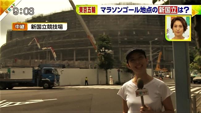上路雪江~TBSビビットでの新国立競技場レポートで白シャツが汗で透け乳首ポチがモロ!0008shikogin