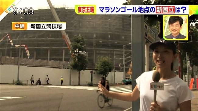 上路雪江~TBSビビットでの新国立競技場レポートで白シャツが汗で透け乳首ポチがモロ!0002shikogin