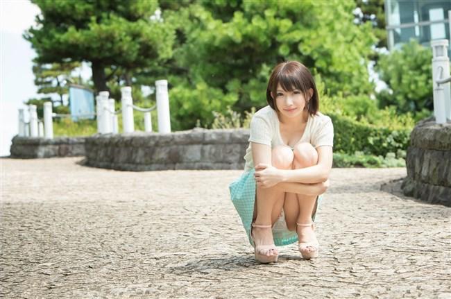 スカート女性がしゃがんで見えるパンツと太もものムチムチ感が格別wwwww0013shikogin