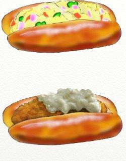 ポテトサラダパンと魚の白身フライパン