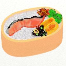 鮭とブロコリと卵焼きときんぴらごぼうひじき弁当