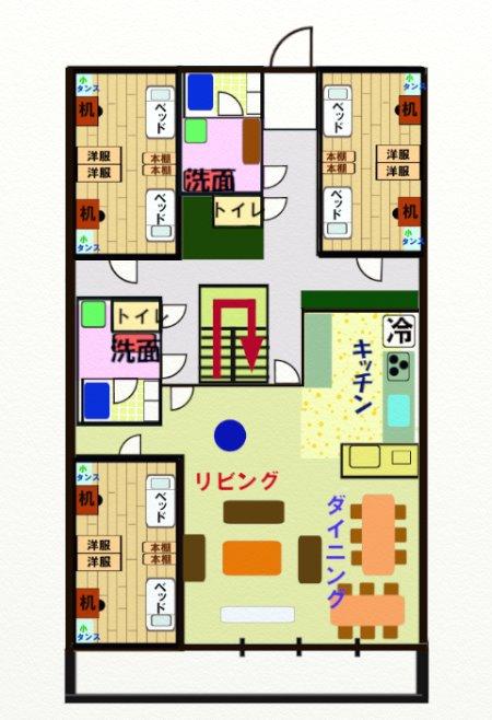 個室の描かれた寮ミニ