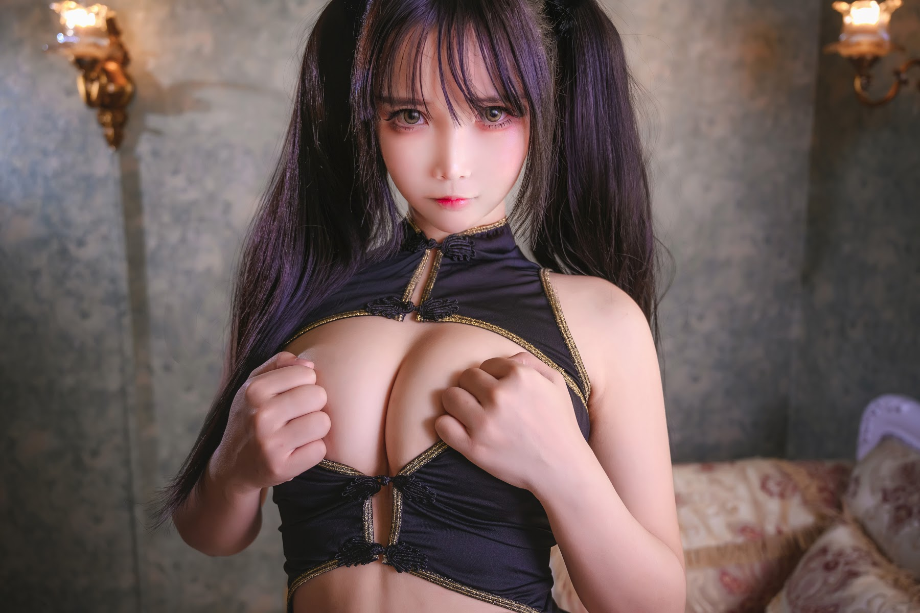 Sexy Chinese beauty with twin tails034