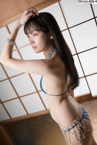 Mai Nanase Blue Metallic Micro Bikini Swimsuit007