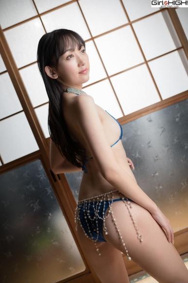 Mai Nanase Blue Metallic Micro Bikini Swimsuit013