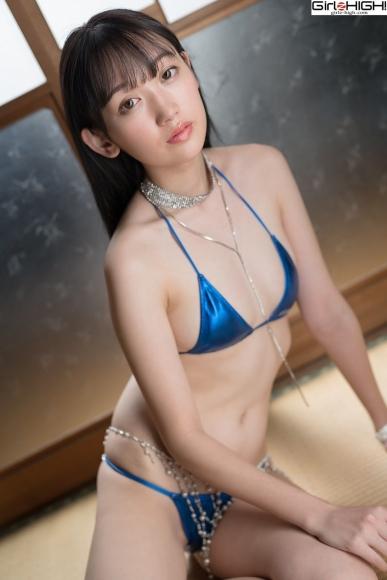 Mai Nanase Blue Metallic Micro Bikini Swimsuit017