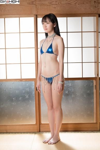 Mai Nanase Blue Metallic Micro Bikini Swimsuit031
