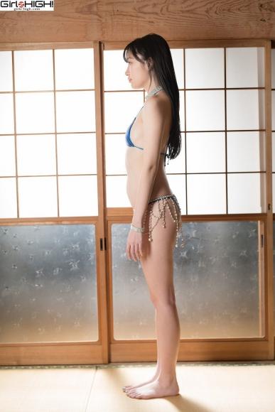 Mai Nanase Blue Metallic Micro Bikini Swimsuit032