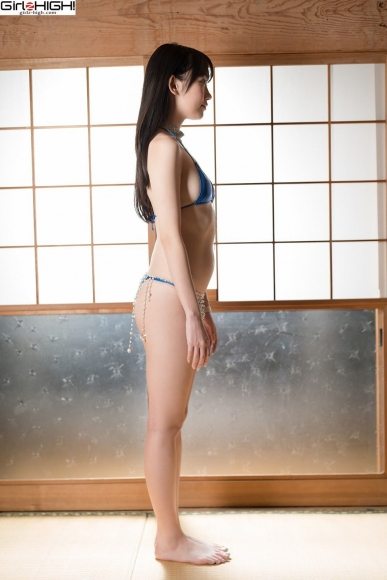Mai Nanase Blue Metallic Micro Bikini Swimsuit036