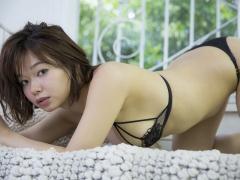 Tsukasa Wachi black lace lingerie gravure underwear image 003