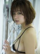 Tsukasa Wachi black lace lingerie gravure underwear image 007