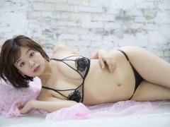 Tsukasa Wachi black lace lingerie gravure underwear image 011
