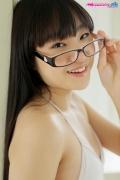 Maya Saotome Glasses Girl White String Bikini014