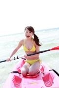 Ayumi Ishida 17 years old Morning Musume 14 Swimsuit with emerald green sea in the background049