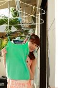 Ayumi Ishida 17 years old Morning Musume 14 Swimsuit with emerald green sea in the background056